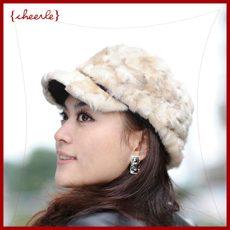 new style pretty lady's fashionable fur cap mink fur cap(CHF0016-2)