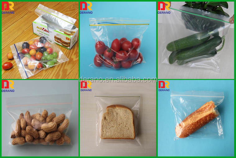 100% LDPE packaging clear transparent freezer zipper bag