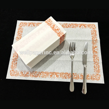 Disposable feel-like cloth airlaid hand Guest Towels Decorative Gold And White Cloth-Like Paper Napkins - Case of 1000