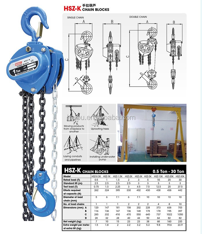 HSZ-K high quality TUV CE GS 5 ton harga chain block hs type brands