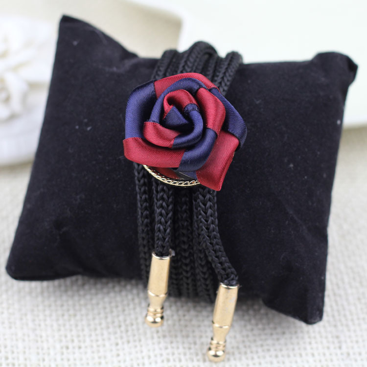 Fancy latest design rose flower charm bolo men tie necklace