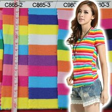 8 colors rainbow stripe cotton lycra tshirt fabric