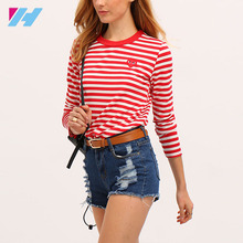 Red White Long Sleeve Striped Custom Casual T-Shirt Design Wholesale China With Round Neck And Long Sleeve