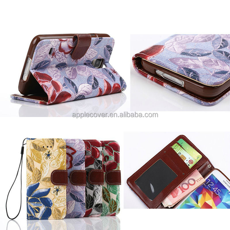 folio PU leather case for samsung s5 flip phone cover