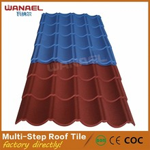 Guangzhou Wanael 3 Meters Long Multi-Steps Classical Cheap Stone Coated Metal Roof Tiles And Building Material