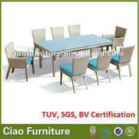 8 seater square UV-resistant wicker dining set, glass top