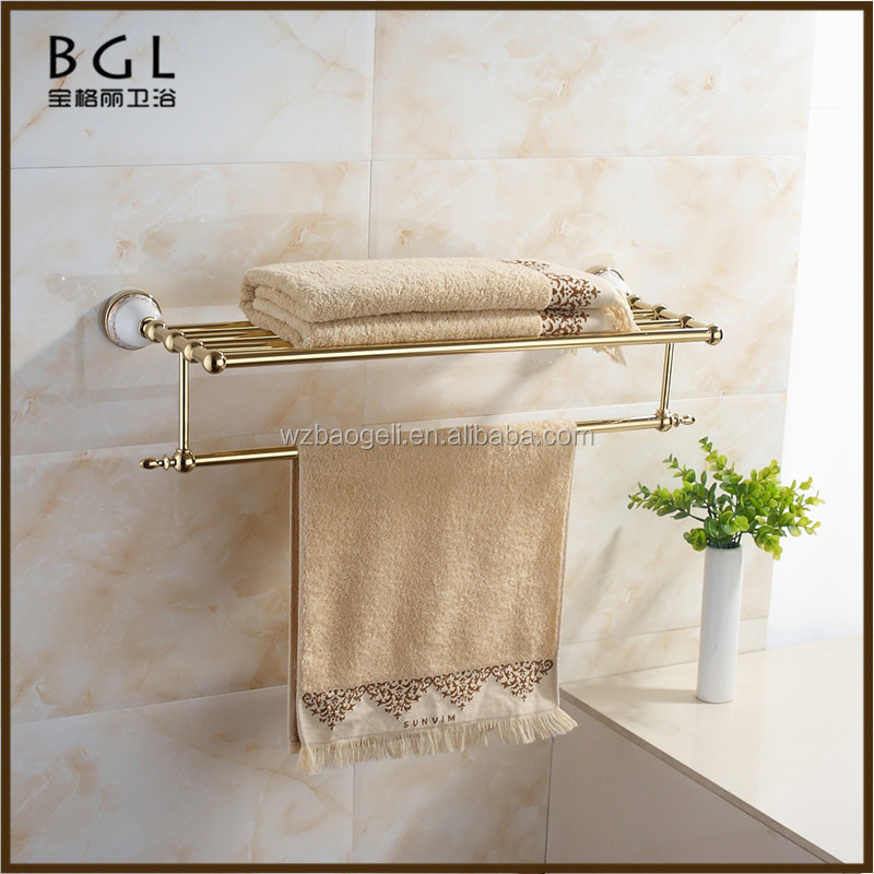 China supplier Printing lines Zinc alloy and Ceramic Polished Gold Bathroom Accessories Wall mounted Bathroom towel rack