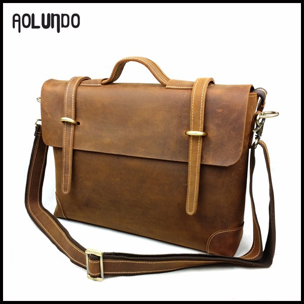 Guangzhou wholesale crazy horse leather 12.5 inch laptop bag