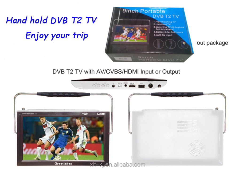 Mini Digital Pocket tv with hd output 9 inch Portable dvb-t2 tv for Czech Republic market