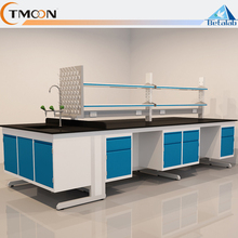 New design Laboratory furniture full steel floor mounted lab bench with reagent shelf