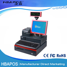 HBA-K6 12.1 inch Integrated pos computer billing machine price with barcode scanner, receipt printer and cash box