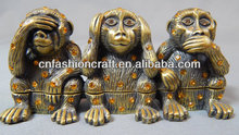 Charming Vintage Three Wise Monkeys Jeweled Trinket Box See No Evil Hear No Evil Speak No Evil