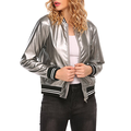Women's Faux Leather Short Baseball Bomber Coat Quilted Jacket Zip Front Ribbed Cuffs and Hem,