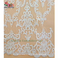 High quality fancy nylon spandex elastic white lace embroidery fabric