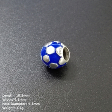 ZIB-26 Football Bead in 925 Sterling Silver Jewelry Blue Enamel Charms