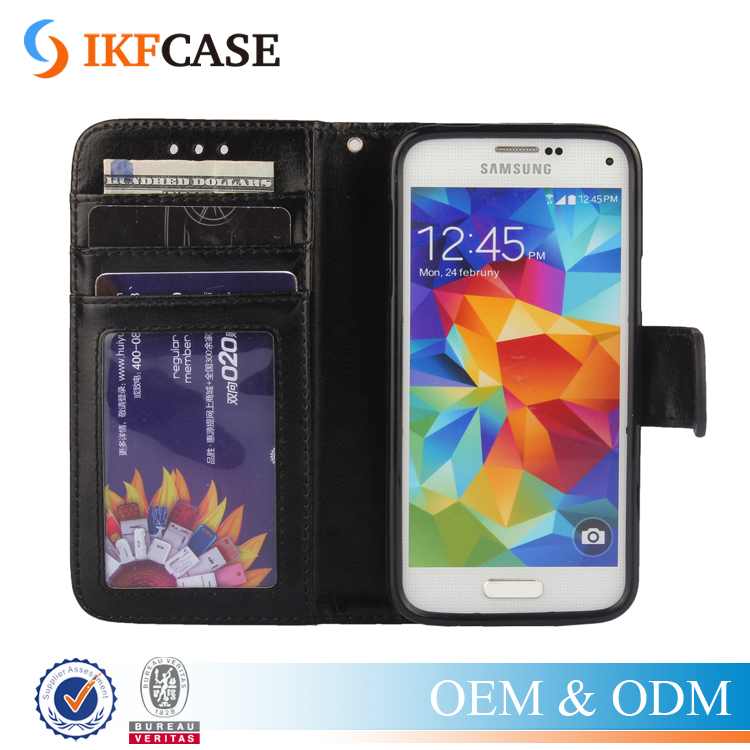 Leather wallet case for Samsung galaxy s5 mini,crazy horse leather mobile phone flip cover