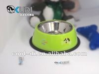 quality plastic and stainless steel mix dog feeding bowl KD0403111
