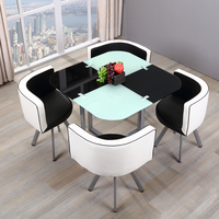 Dinning room modern space saving tempered glass metal dining tables with 4 chairs