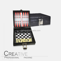 PU leather travel protable backgammon set with chessmen