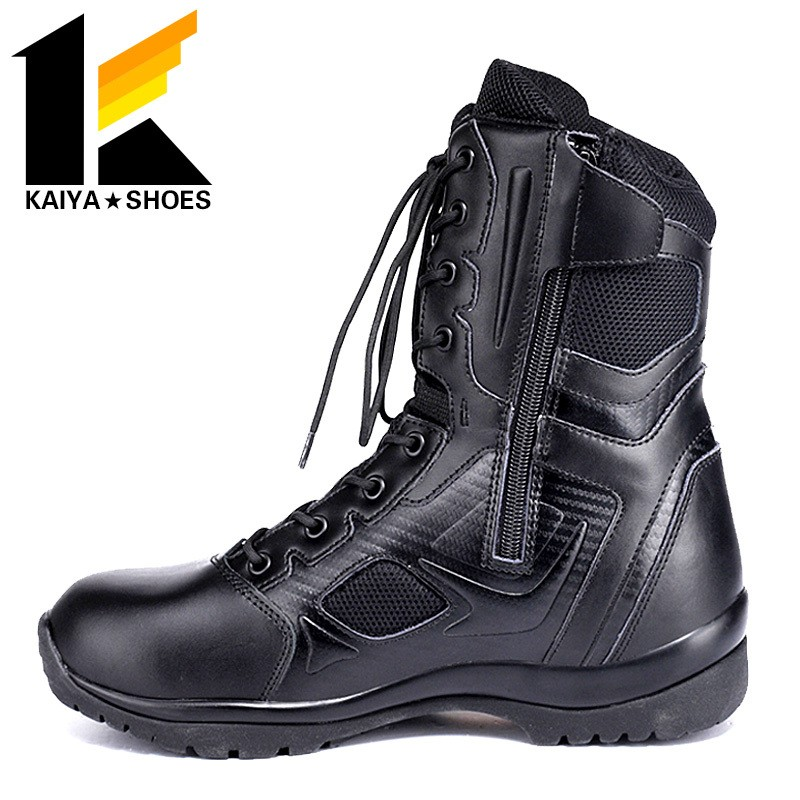 security multi-function military assault tactical leather black boots water-proof