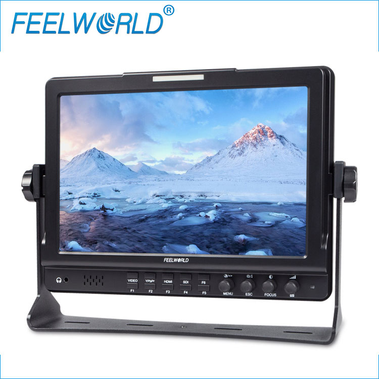 10.1 inch high resolution 1280x800 professional HD field SDI monitor audio video rack for dslr camera