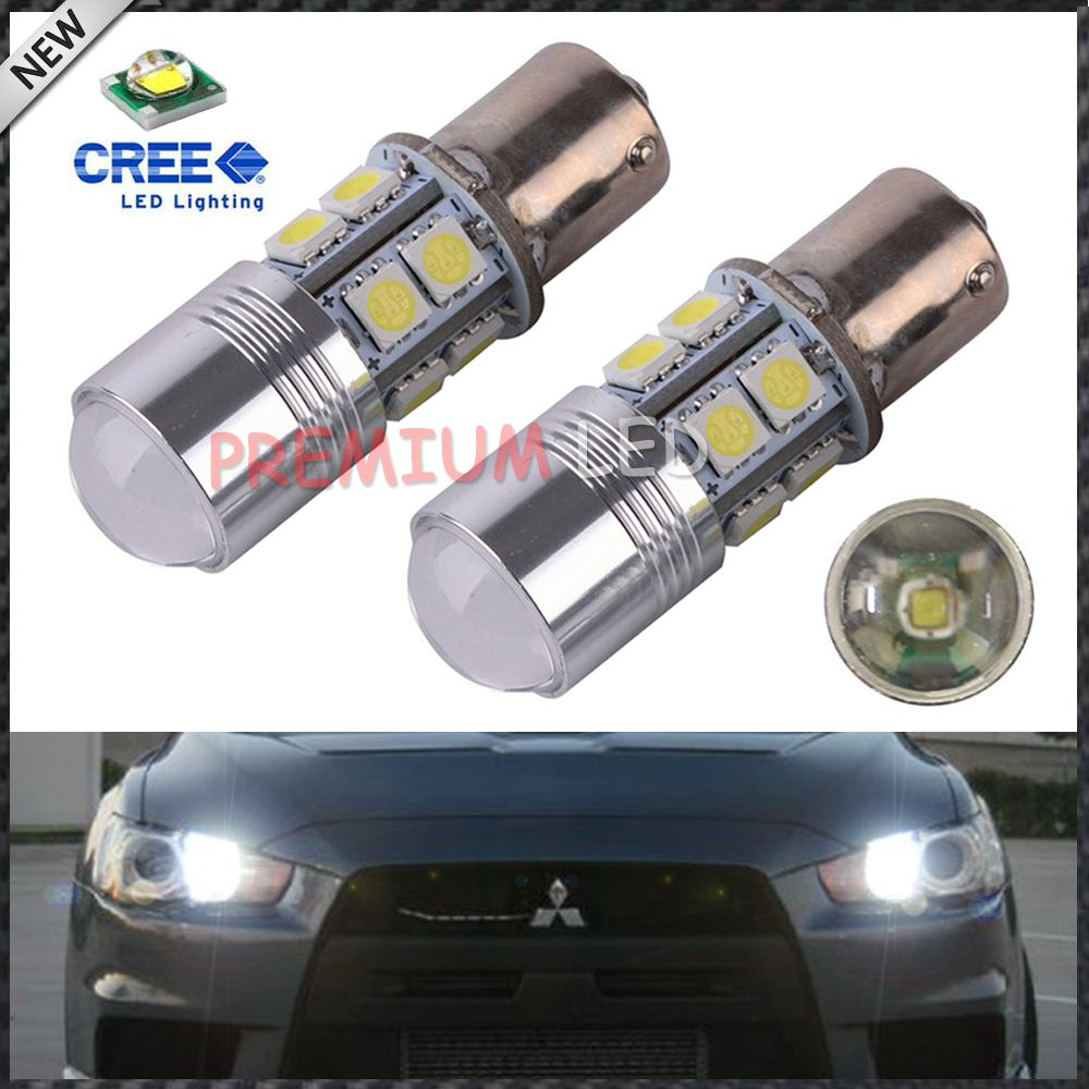 Canbus Error Free Xenon White 1156 CRE'E LED Bulbs for 2008-2014 Mitsubishi Lancer or Evolution X Daytime Running Lights
