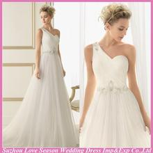 WD5246 Hot selling one shoulder simple wedding gown with low price