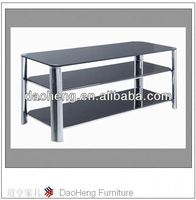cheap chromed stainless steel and black glass tv stand