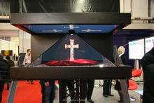 70 Inch 3 Sides Large Pyramid Hologram,High Resolution 3D Display With Hologram Technology