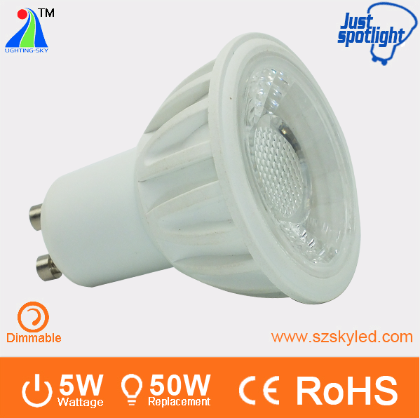 high quality 5w 500LM 220V COB dimmable gu10 mini led