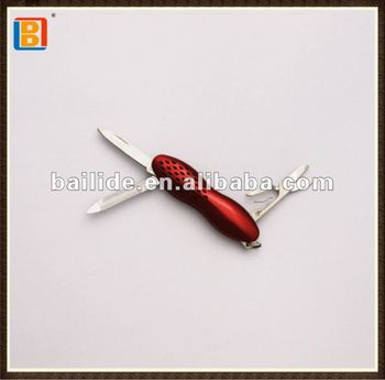 2017 High Quality Mini Red Waist Shape Multifunctional Pocket Gift Knife With Scissor