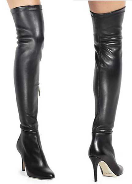 Thigh High Stretch Leather Boots | FP Boots