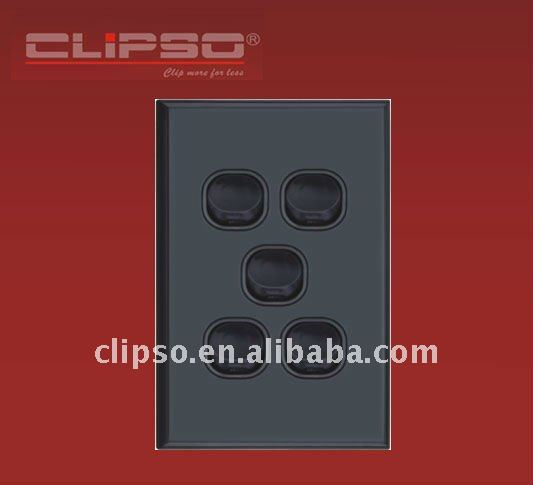 (CLWS5V/B) Australian Standard Electric Wall Switch Vertical Black