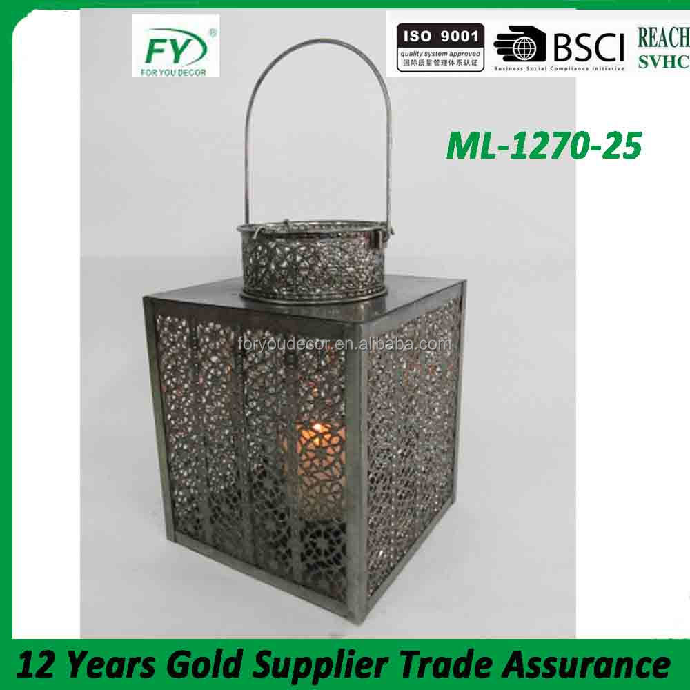 ML-1270-25 Hollow moroccan metal candle lantern with nickel plated and glass tube inside