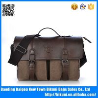 Vintage Men's Canvas Leather Satchel Messenger bag Wholesale Military Shoulder Bag