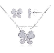 Stainless Steel Butterfly and Sandblast Pendant 18 Inch Adjustable Necklace and Matching Earrings
