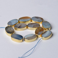 CB49883 Edge Palted Flat Oval Beads , Golden Color, Gray Agate Gem Natural Stone