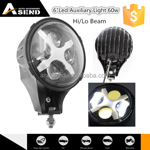 "China high power auxiliary light 6inch for jeep wrangler long life offroad light auxiliary led 6"" 60w more than 5000 hours"