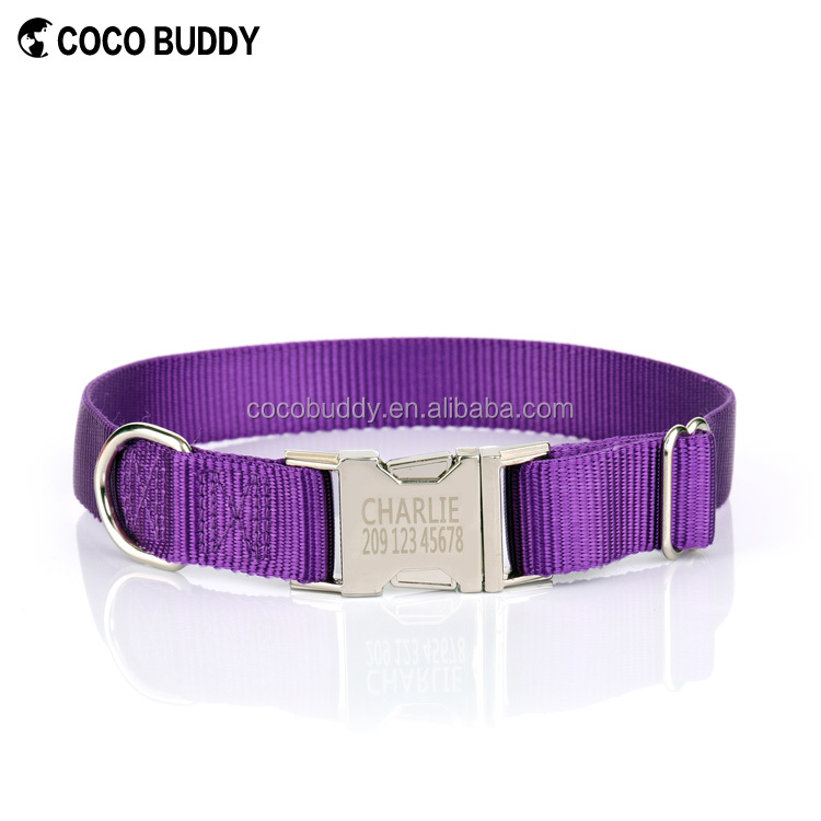 Durable braid soft nylon material retractable dog collar with buckle and clip for lead leash