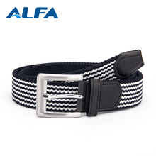 Alfa Online Selling Black Mix Color Stripe Cotton Fabric Braided Elastic Stretch Belts Men