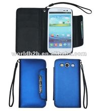 Leather Pouch Case for Samsung Galaxy S3 i9300, with Card Slots & Clasper
