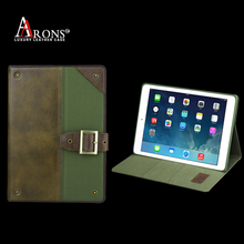 Denim folio cover leather case for ipad air 2