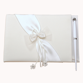 M3602-1 Ivory Bowknot Satin Wedding Signature Guest Book for bride