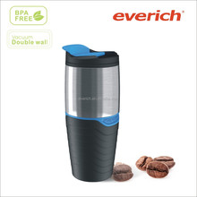 16oz Hot Selling custom cheap plastic insulated double walled coffee mugs/plastic travel mug