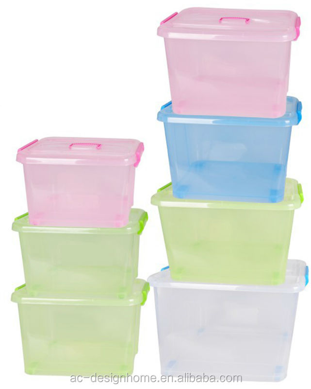 FUCHSIA, TURQUOISE, LIME GREEN, ORANGE 69L RECTANGULAR PP PLASTIC STORAGE BOX