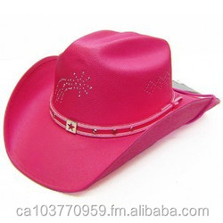 #19054K Kids extra small bright pink straw cowboy hat with rhinestone