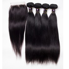 Virgin Hair Bundles With Lace Closure, Free Parting 3 Way Part Brazilian Hair Lace Closure