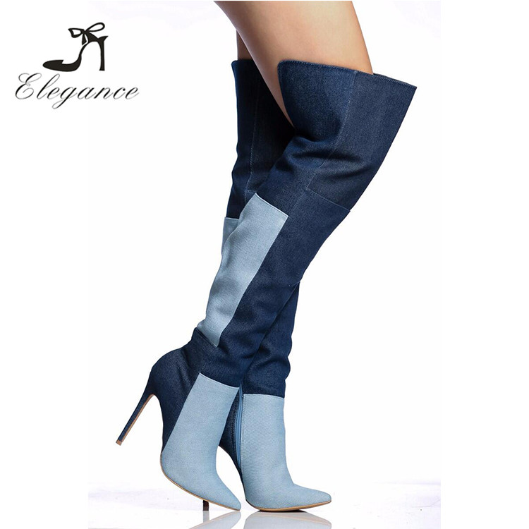 New Fashion Women High Heel Two-Tone Patchwork Cut-Outs Hole Denim Over The Knee Long Boots