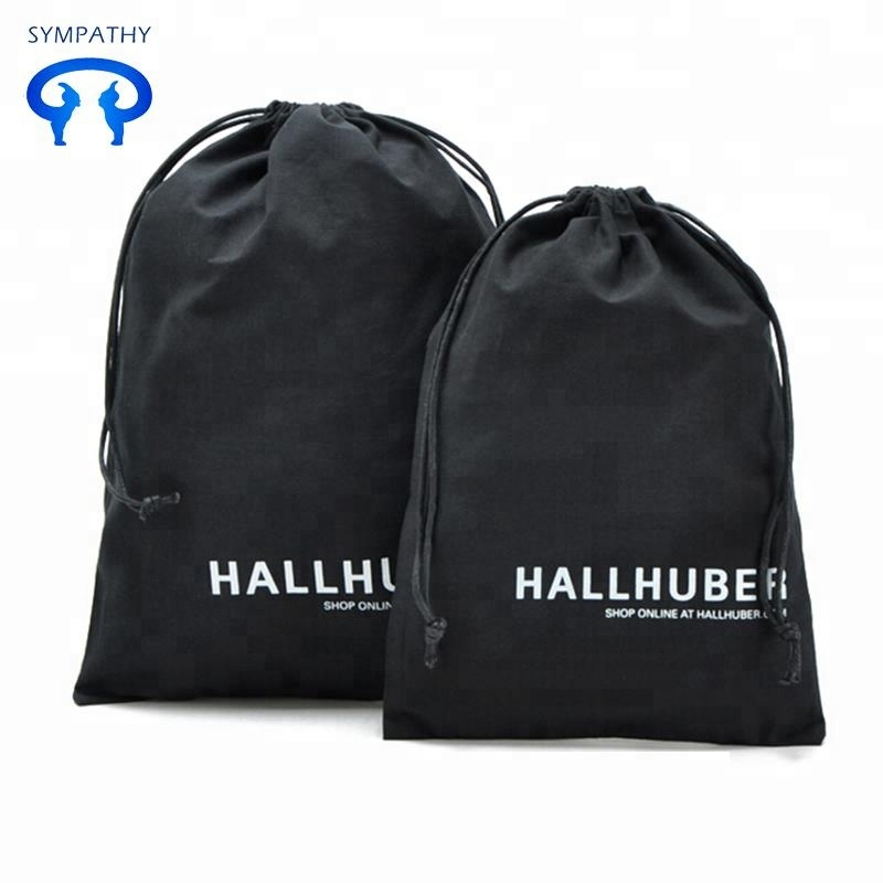 high quality customized black organic cotton drawstring shopping bags muslin black cotton drawstring bag with your logo