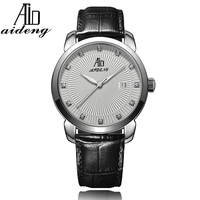 Aideng 2016 Dongguan brand mens watches, mineral glass watches, japan mvt quartz watch